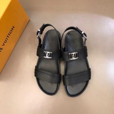 Dép nam Louis Vuitton siêu cấp sandal da đen trơn khóa logo nhỏ DLV88