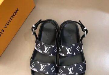Dép nam Louis Vuitton siêu cấp sandal màu đen hoa khói trắng DLV89