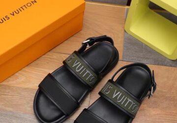 Dép nam LV siêu cấp sandal họa tiết quai xanh in chữ DLV84