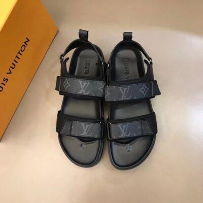 Dép nam LV siêu cấp sandal quai dán họa tiết hoa đen DLV85