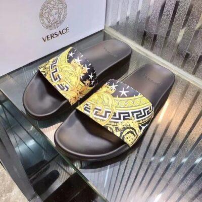 Dép nam Versace siêu cấp họa tiết hoa văn màu vàng DVS24
