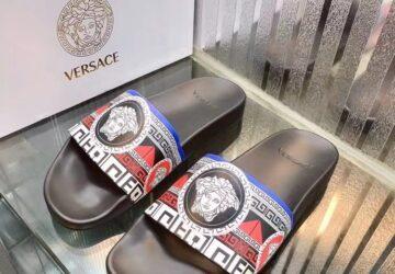 Dép nam Versace siêu cấp họa tiết medusa quai viền trắng DVS23